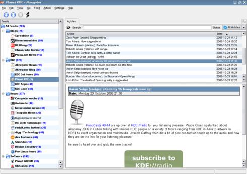 Akregator, el lector rss de KDE