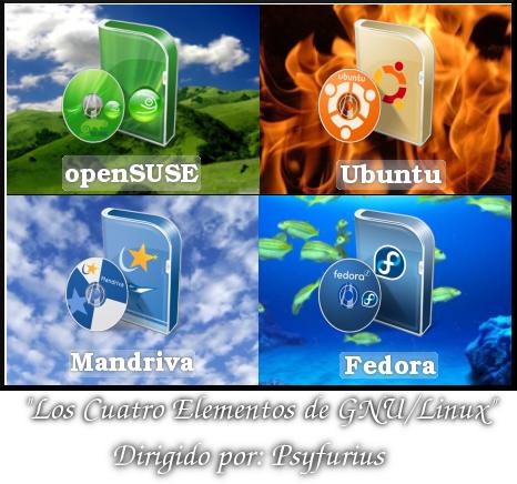 Los cuatro elementos de GNU/Linux