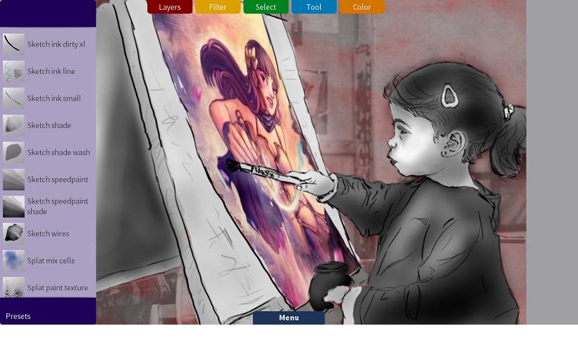 Selección de Pinceles con Krita Sketch. Dibujo de Boudewijn Rempt