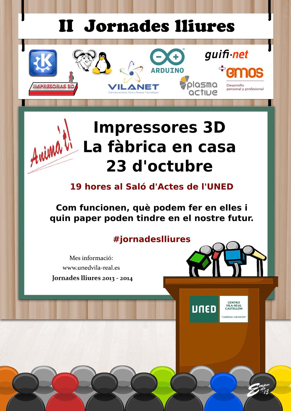 II Jornadas Libres: 23 de octubre, Impresoras 3D