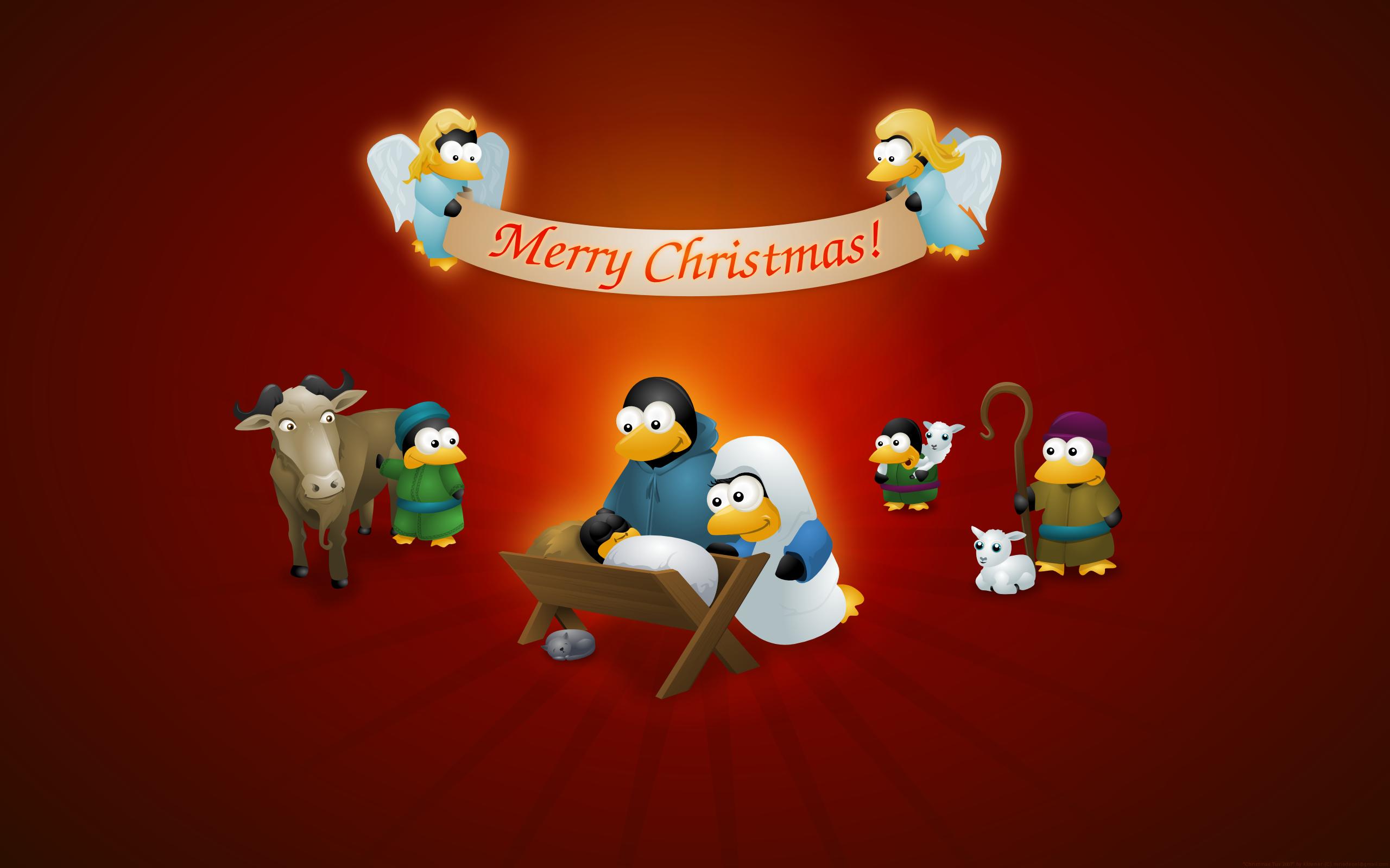 5 fondos de pantalla navideños de Tux