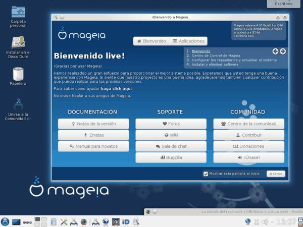 Pantalla de bienvenida de Mageia 4.