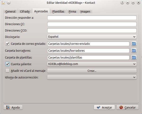 Cómo configurar las Identidades en Kmail