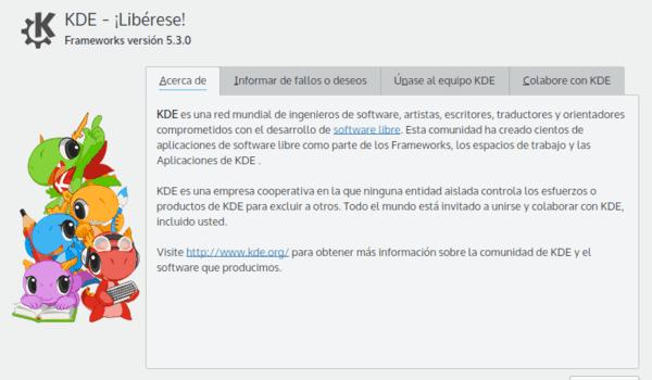 Ventana Acerca de KDE de Plasma 5