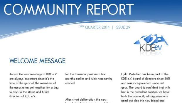 Tercer informe de 2014 de KDE
