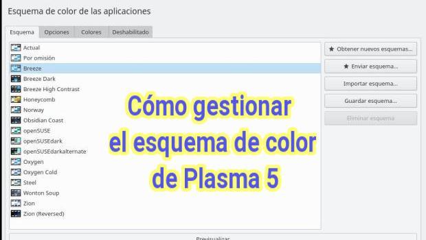 Cómo gestionar los colores de Plasma 5