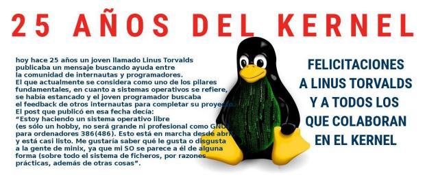 El Kernel Linux cumplió 25 años