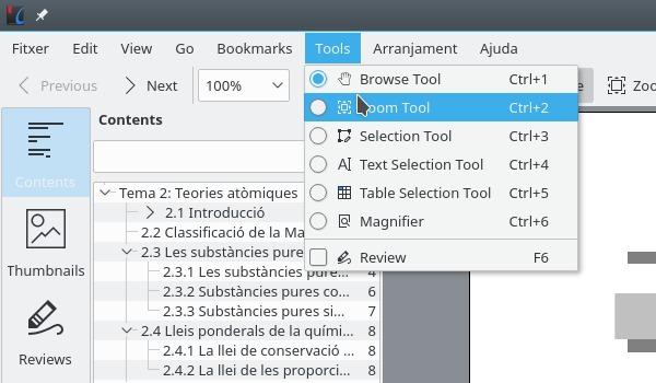 Las herramientas de Okular