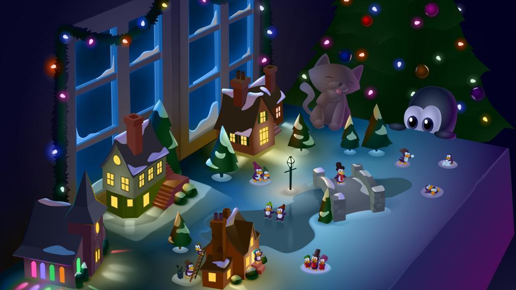 Fondos de pantalla Tux para Navidad