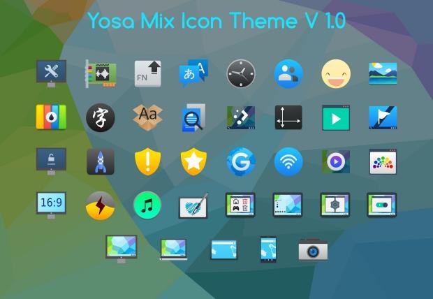 Yosa Mix, pack de iconos de colores planos para Plasma