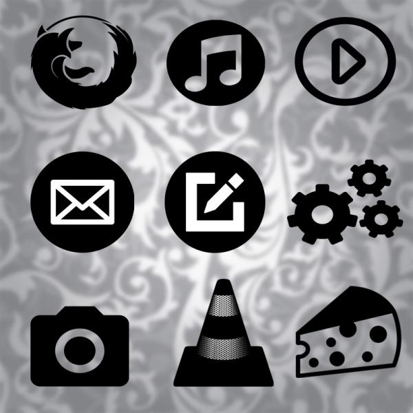 Tema de iconos Black & White flat