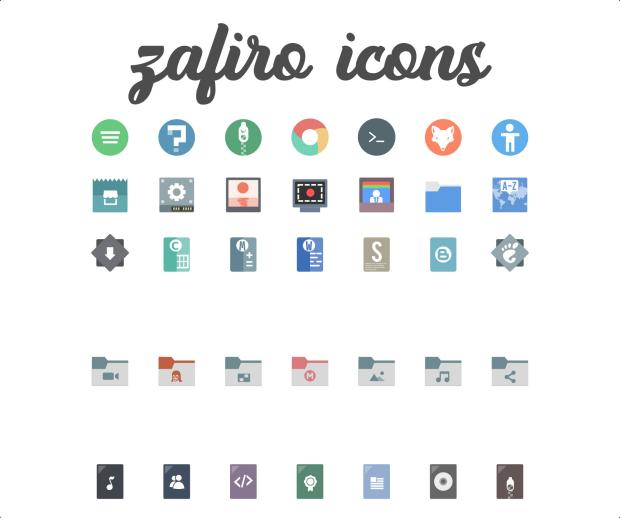 Zafiro, iconos planos y minimalistas para tu escritorio Plasma