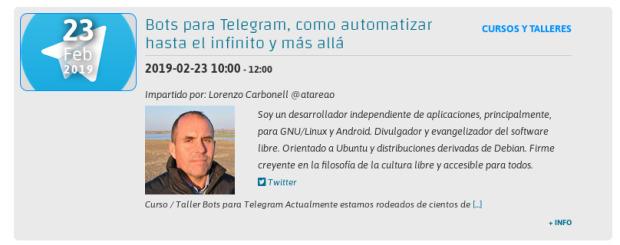 Curso de Bots para Telegram en Linux Center en Valencia