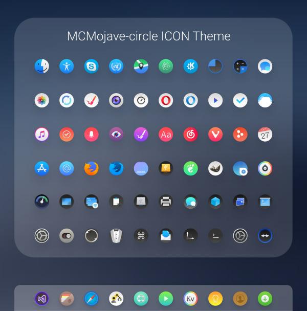 McMojave-circle, iconos redondos estilo MacOS para Plasma