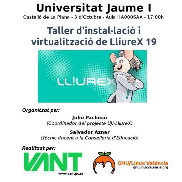 Taller de instalación y virtualización de LliureX 19 en Castellón