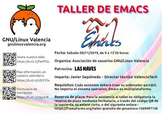Taller sobre el editor GNU Emacs en GNU/Linux Valencia