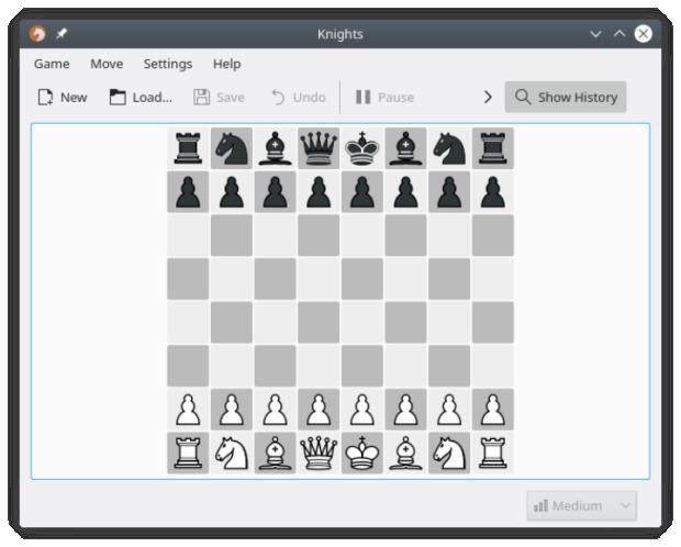 KNights, el juego de ajedrez de la Comunidad KDE