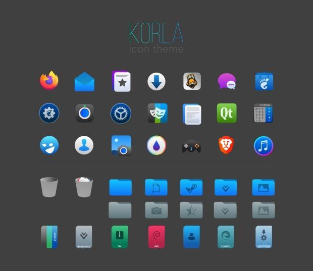 Korla, otro tema de iconos simples y claros para Plasma