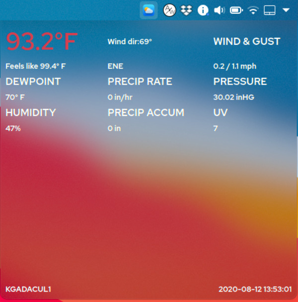 Wunderground PWS Widget, Plasmoides de KDE (155)