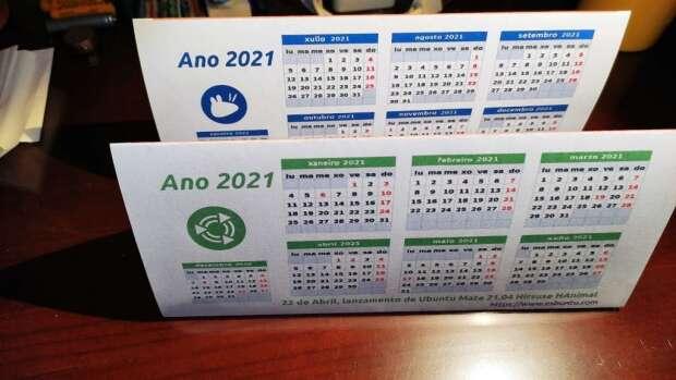 Calendario ubuntero para el 2021