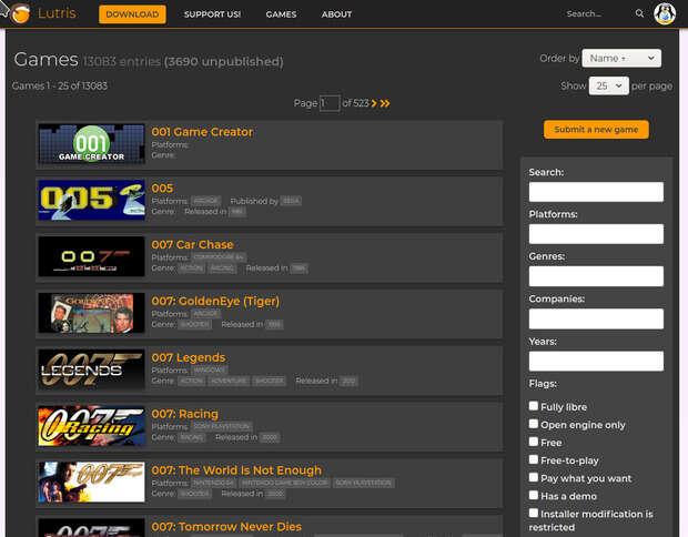 Gestor de juegos en Linux: Lutrix