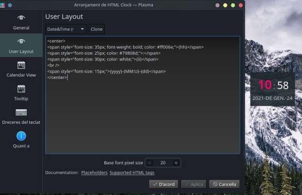 HTML Clock – Plasmoides de KDE (170)